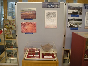 松ノ木田遺跡の遺物や写真の展示の様子