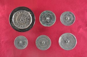 川柳将軍塚古墳出土と伝えられる鏡6枚の写真です。
