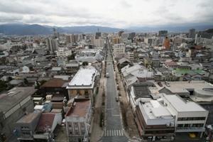 善光寺周辺から長野市街地を写した空撮写真です。中央に中央通りが写っています。
