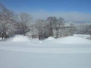 雪に覆われた古墳
